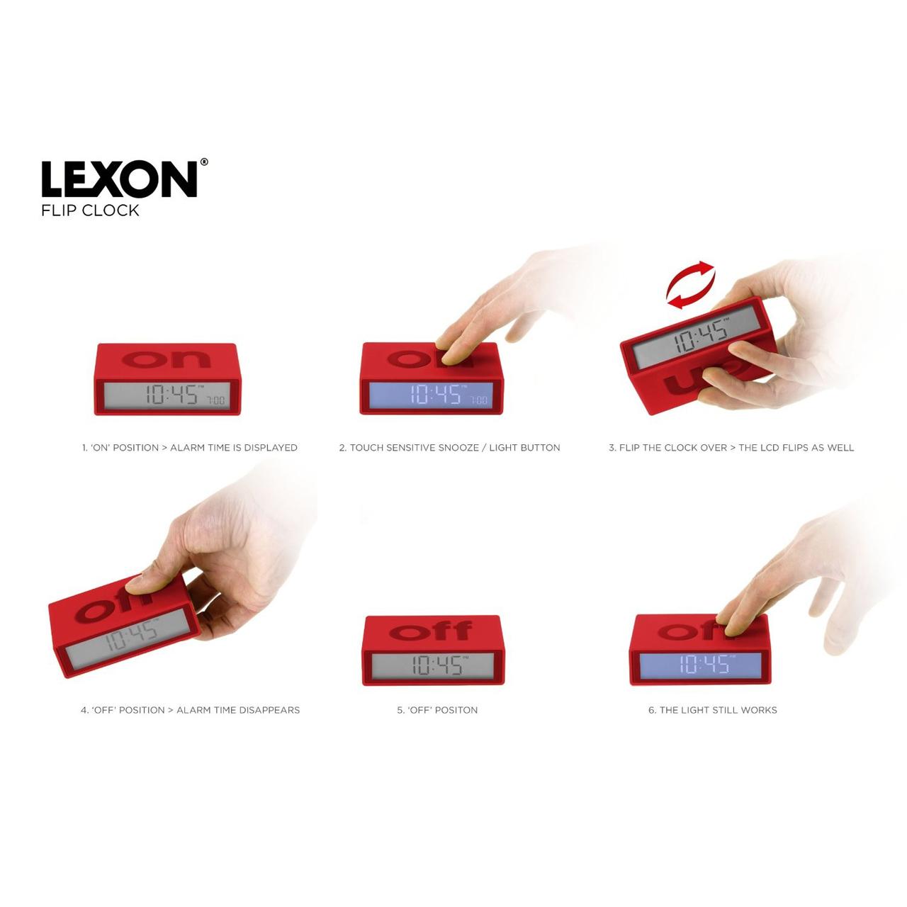 LEXON FLIP alarm clock (visual function description)