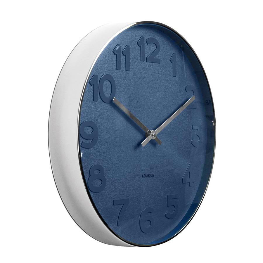 Karlsson Mr Blue numbers steel rim wall clock - Ø 51 x 7 cm | The Design Gift Shop