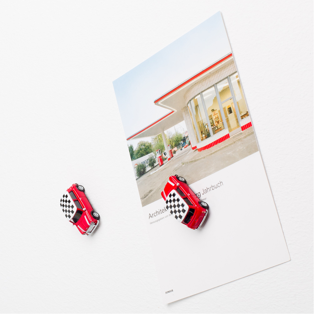 Mini Cooper die-cast with magnet used as fridge magnet | The Design Gift Shop