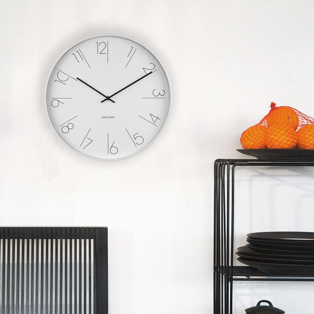 Karlsson wall clock Elegant numbers white steel rim - Ø 40 x 5.8 cm | The Design Gift Shop