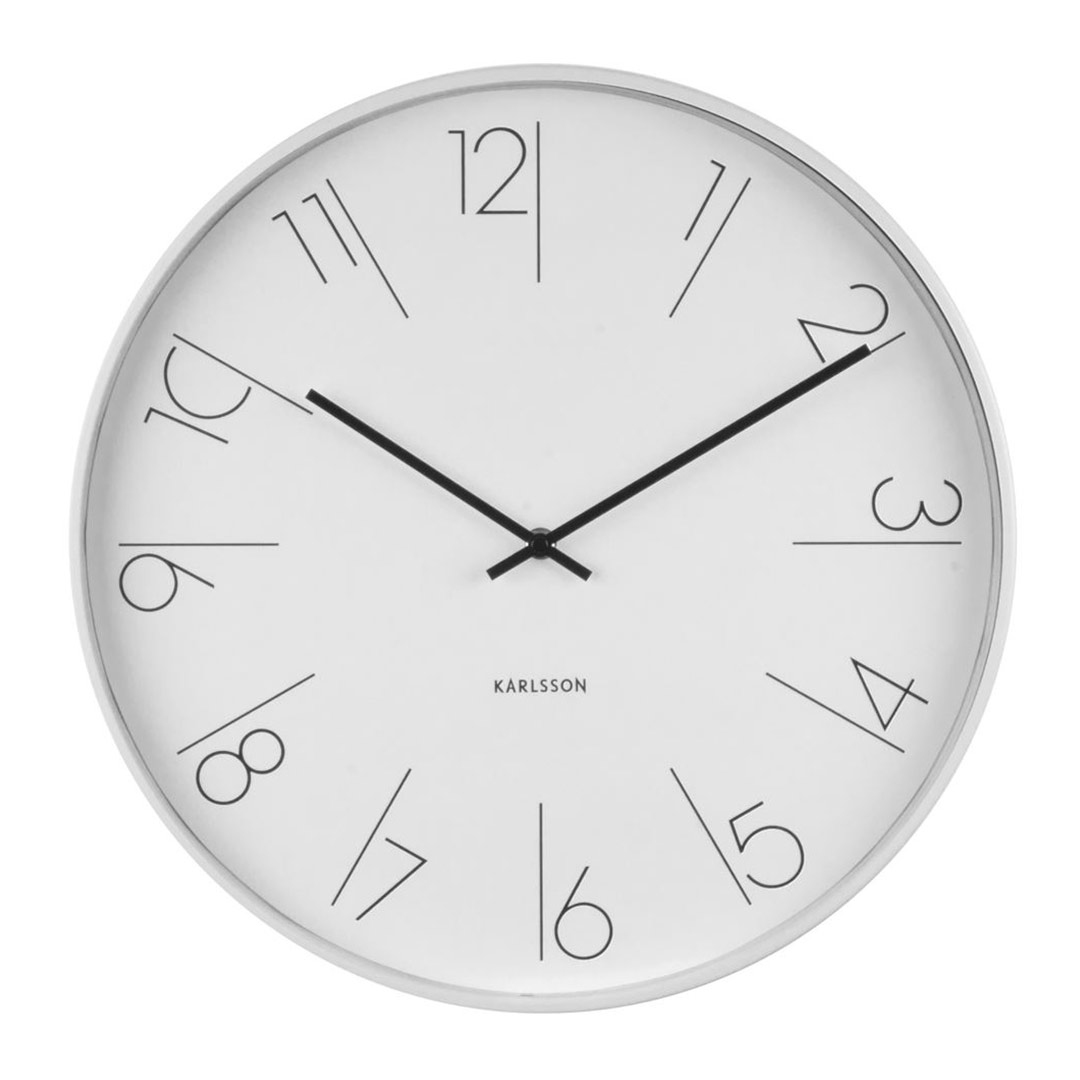 Karlsson wall clock Elegant numbers white steel rim wall clock - Ø 40 x 5.8 cm | The Design Gift Shop