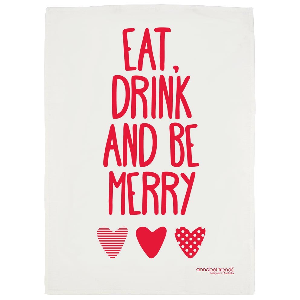 """Christmas Tea Towel """"Eat, Drink and be Merry"""" 