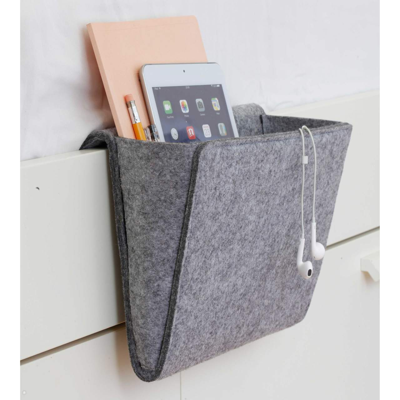 Kikkerland Bedside Felt Pocket Grey | The Design Gift Shop