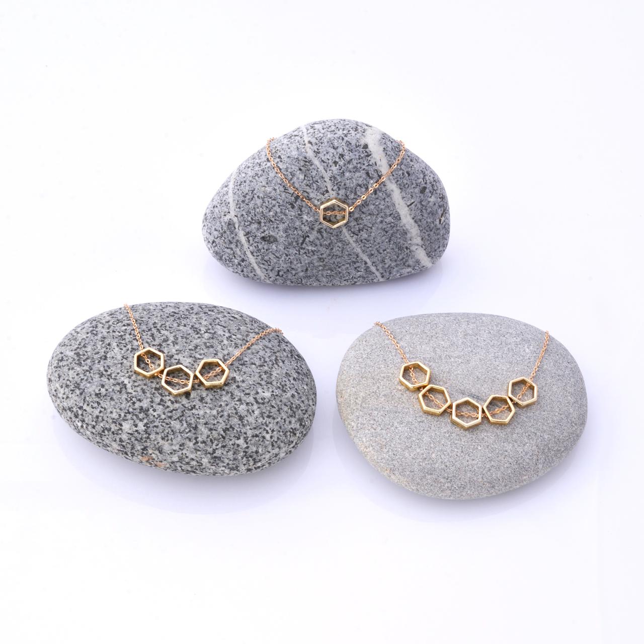 Mon Bijou Golden Hexagon Necklaces | The Design Gift Shop