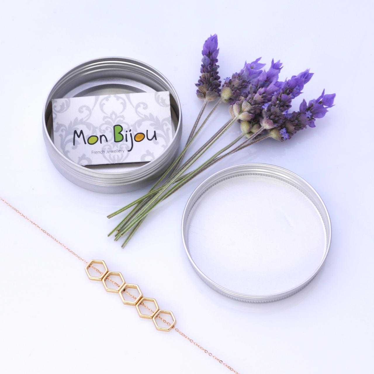 Mon Bijou Golden Hexagon 5 Necklace with silver gift tin | The Design Gift Shop