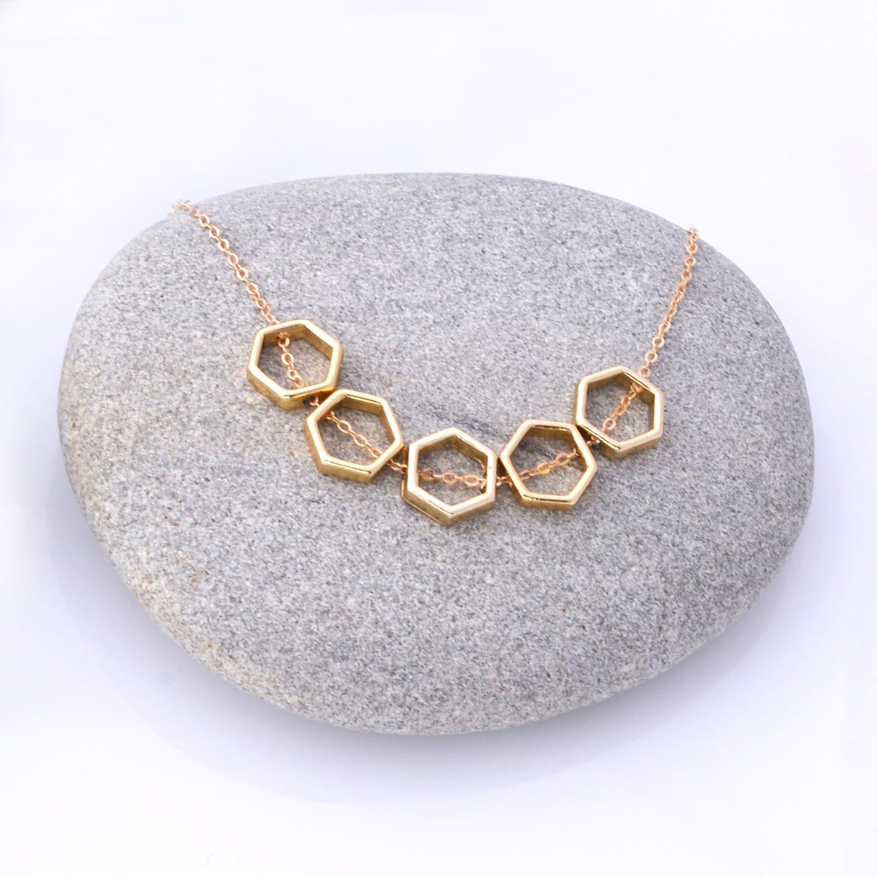 Mon Bijou necklace Golden Hexagon 5 | The Design Gift Shop