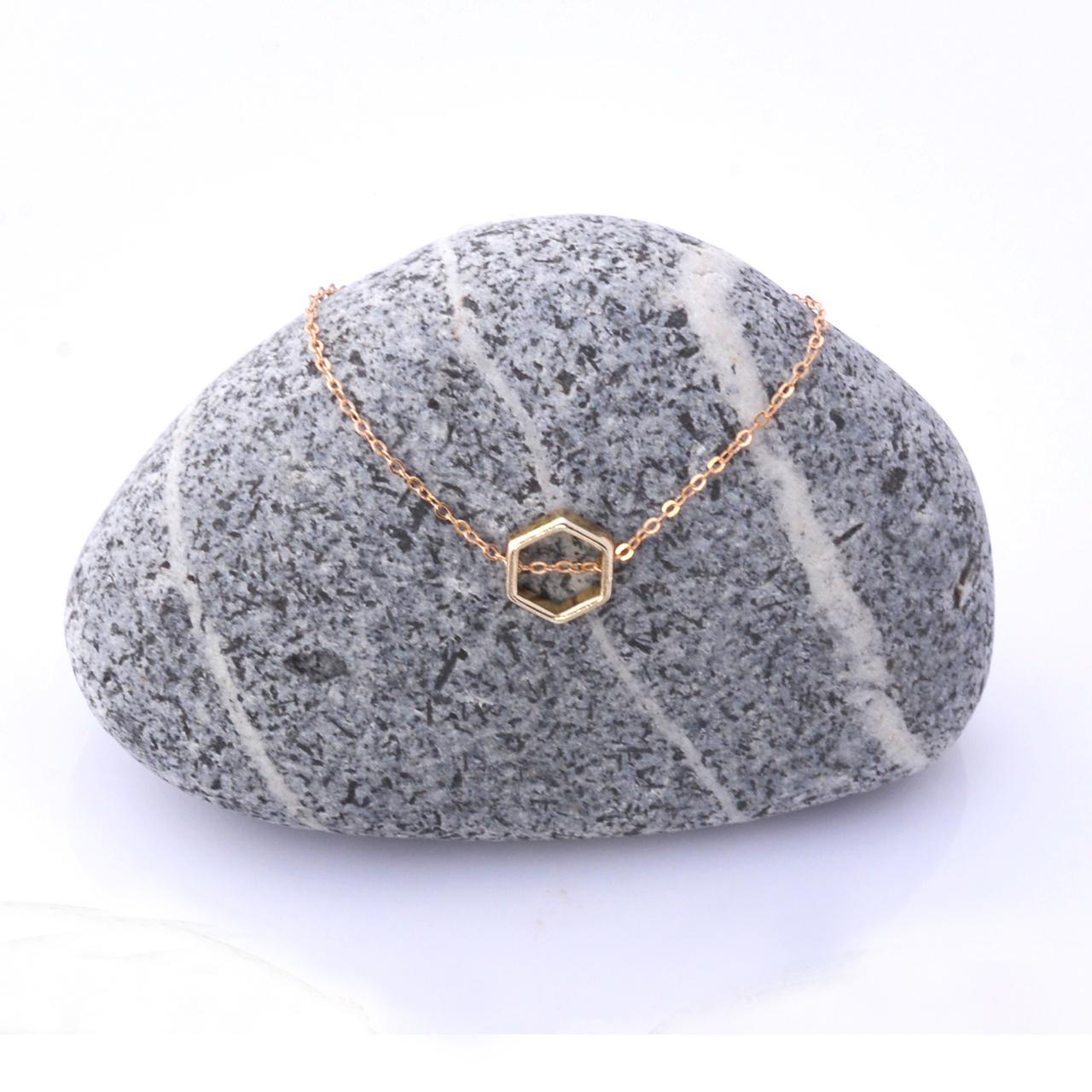 Mon Bijou necklace Golden Hexagon 1 | The Design Gift Shop