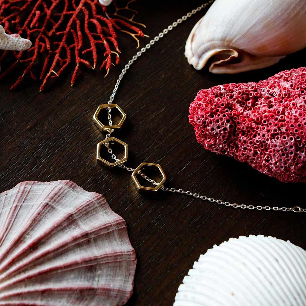 Mon Bijou necklace Golden Hexagon 3 | The Design Gift Shop