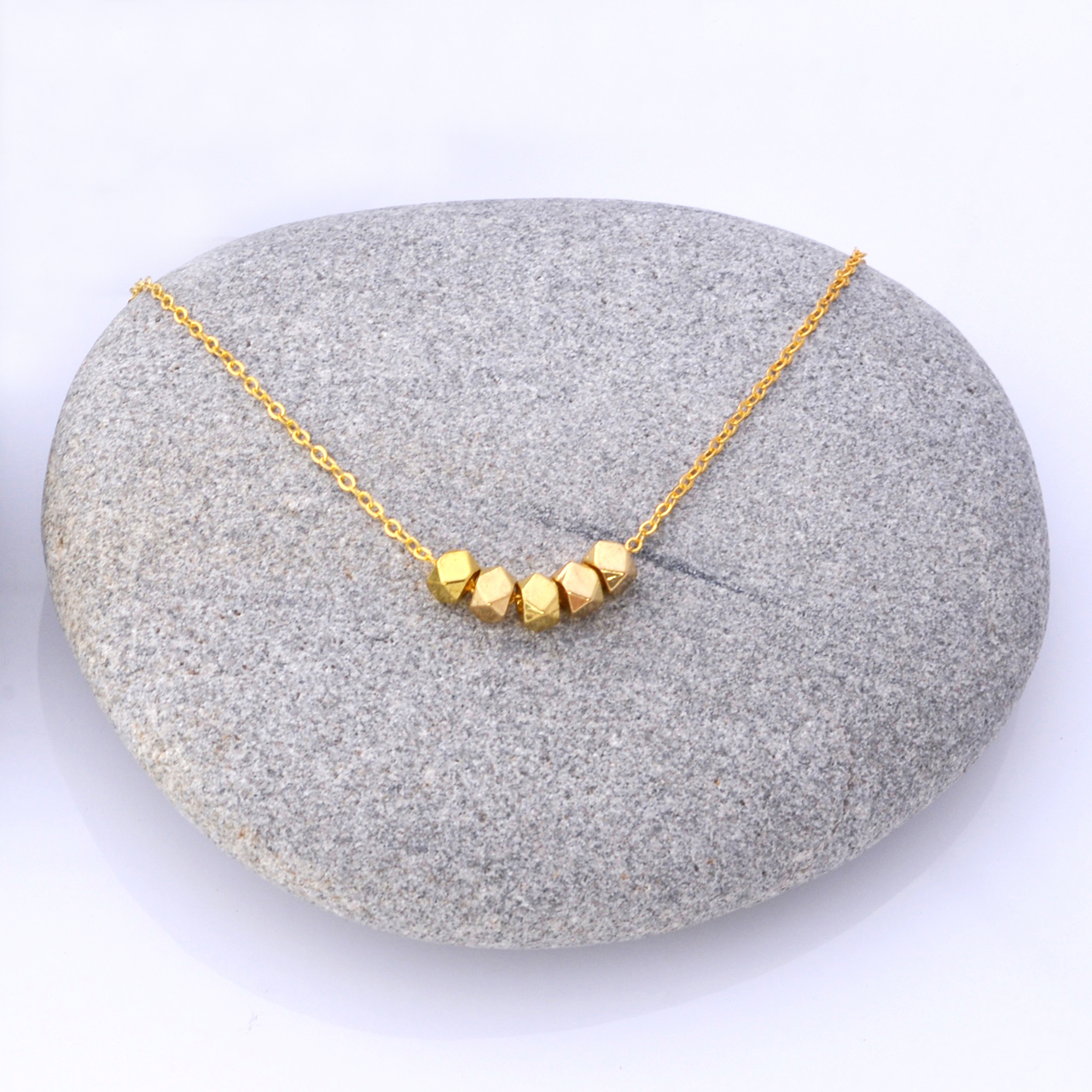 Mon Bijou Minimalist  Necklace Golden Nugget Golden Chain | The Design Gift Shop