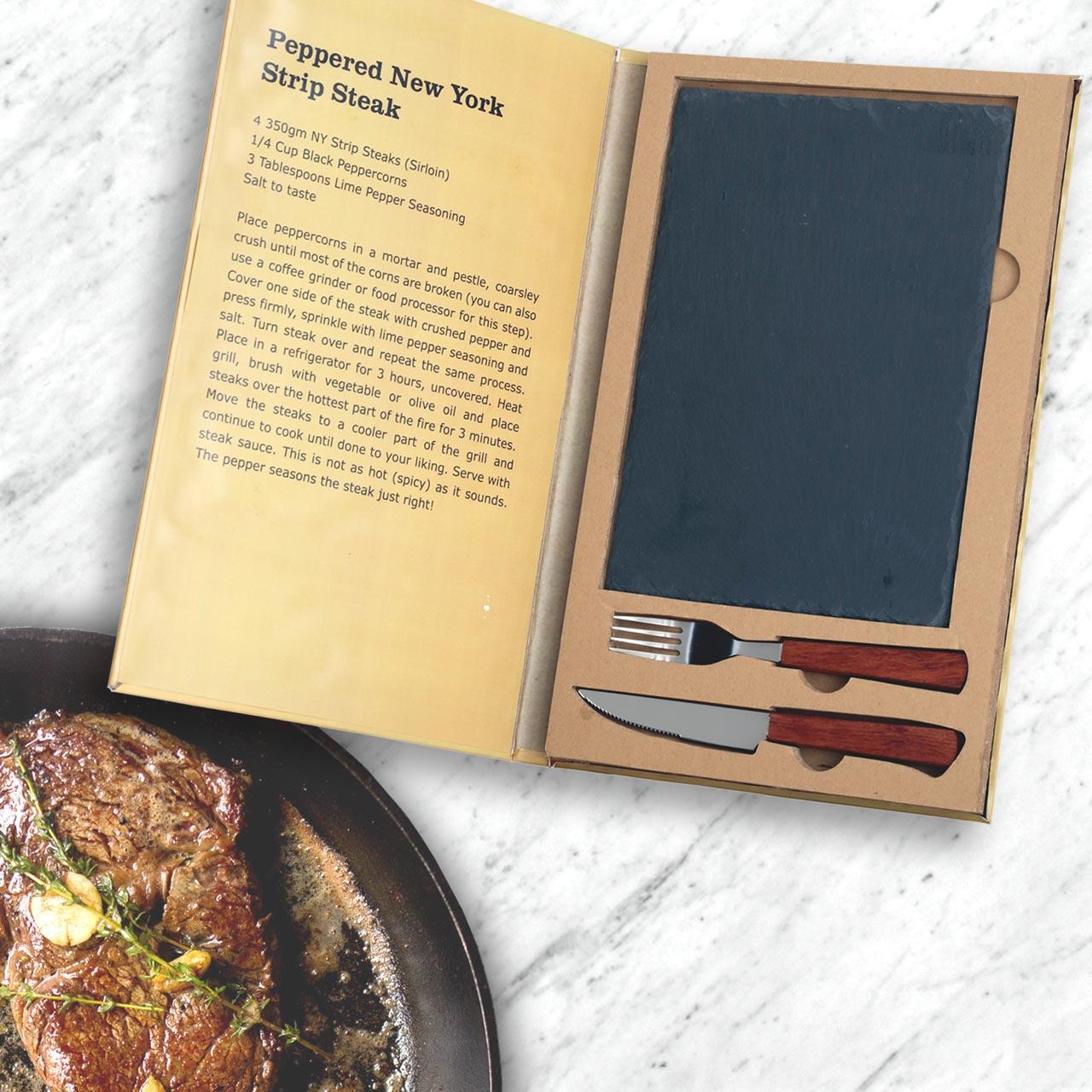 Steak Serving Set, slate board with steak knife and fork | The Design Gift Shop