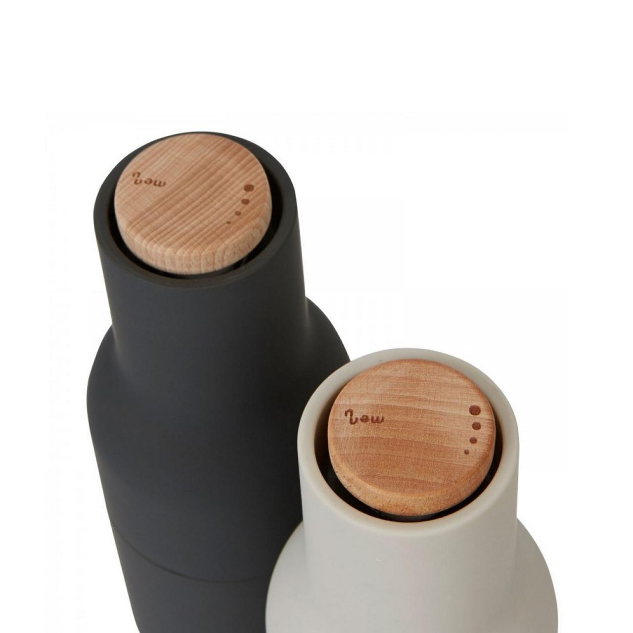 Menu Norm salt & pepper bottle grinder set in carbon / ash | The Design Gift Shop
