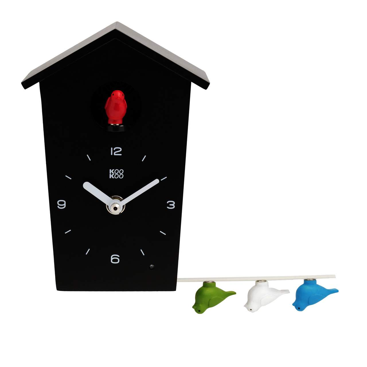BirdHouse Mini cuckoo clock black with genuine bird voices | The Design Gift Shop