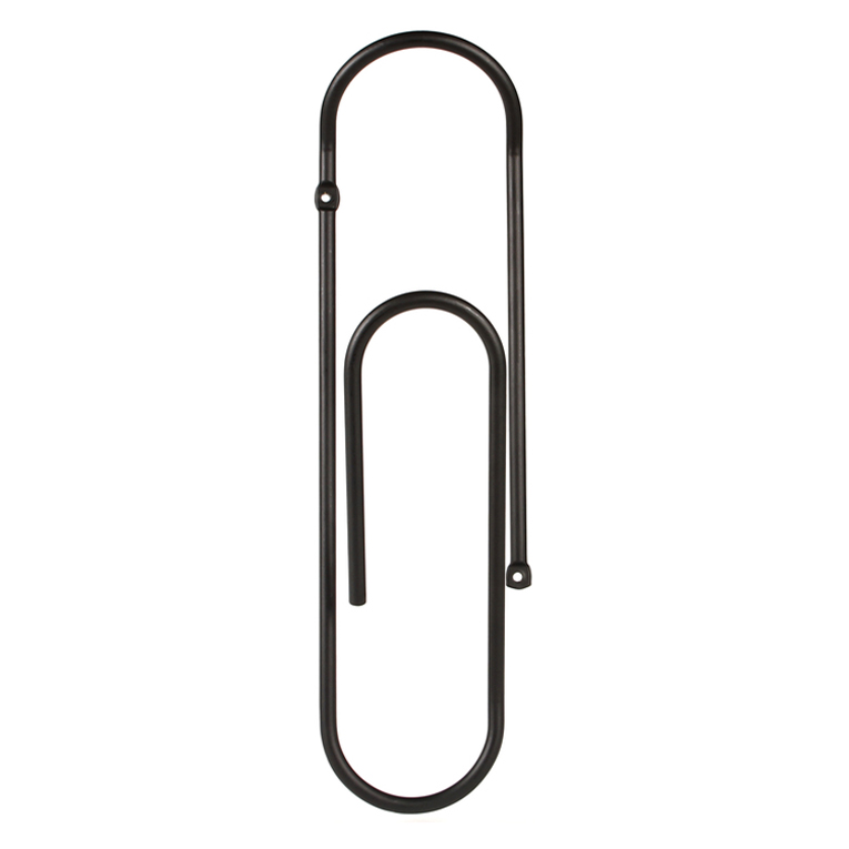Minimalist design Bendo Luxe giant Paper Clip wall mounted coat hook in black | The Design Gift Shop