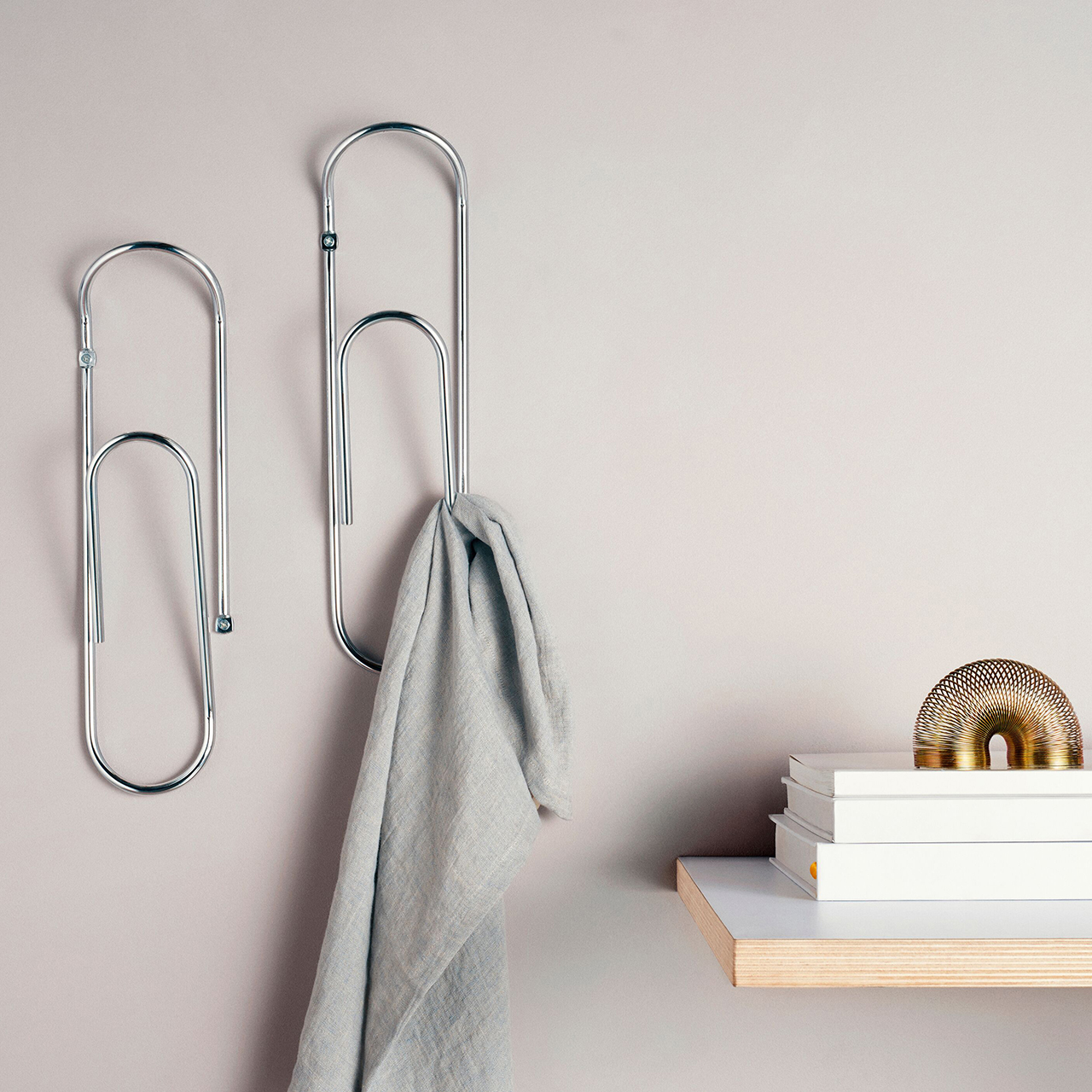 Minimalist design Bendo Luxe giant Paper Clip wall mounted coat hooks chrome | The Design Gift Shop