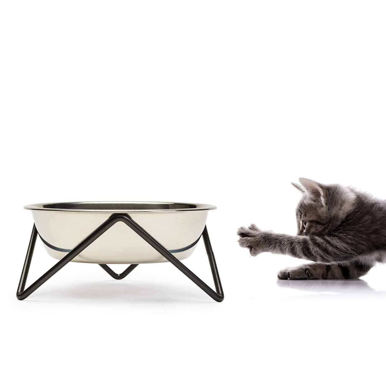 BENDO meow luxe cat dish with black stand | The Design Gift Shop