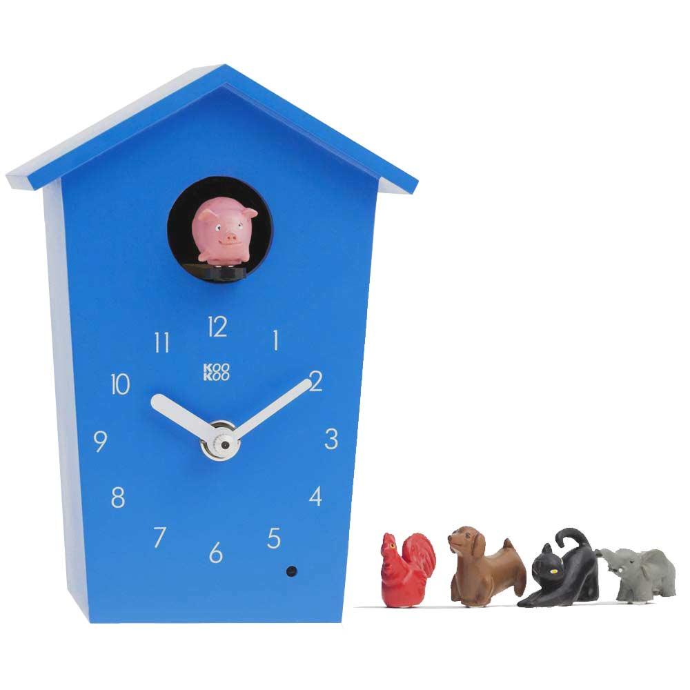 KooKoo AnimalHouse blue wall clock and mantel clock   The Design Gift Shop