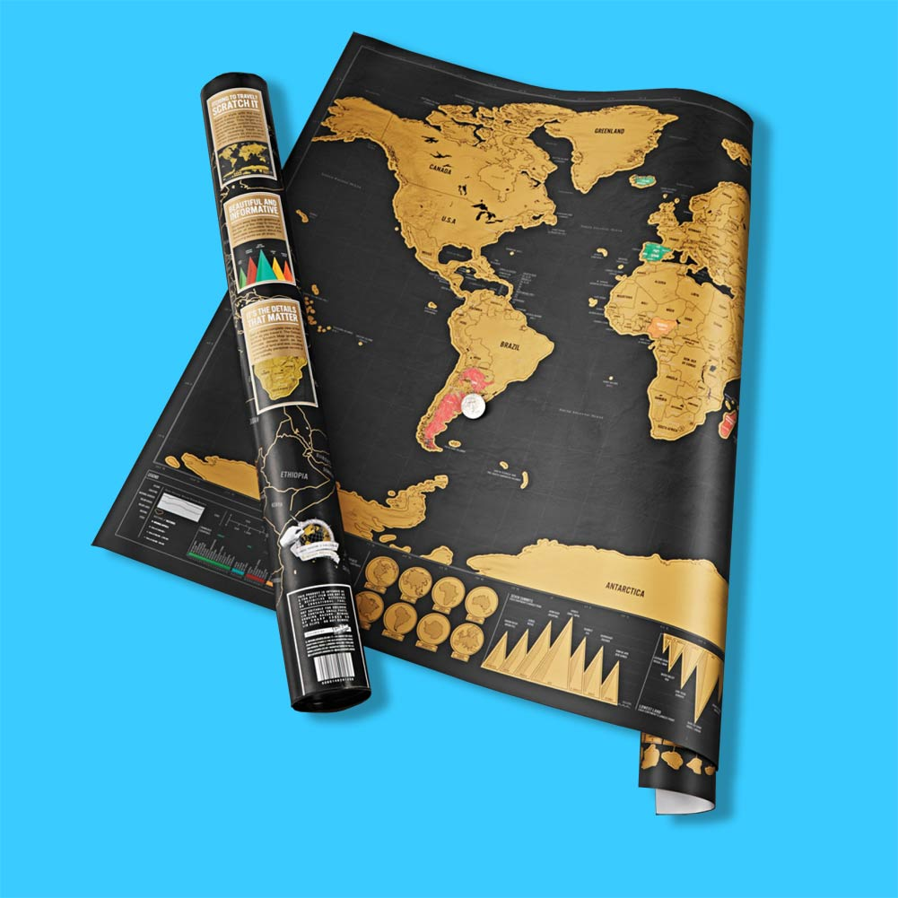 Luckies Deluxe Edition Scratch World Map | The Design Gift Shop
