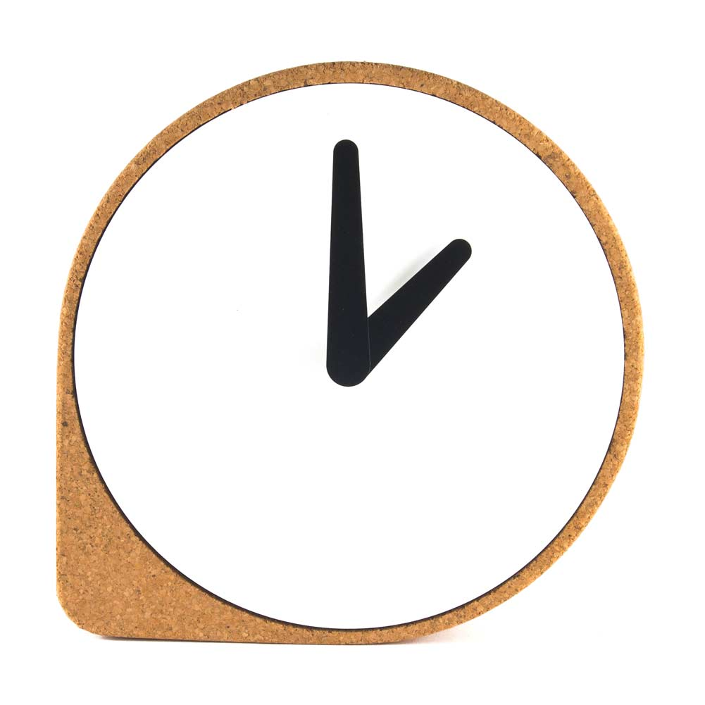 Clork by PUIKart, minimalist table or mantel clock in natural cork | The Design Gift Shop
