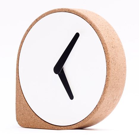 Clork by PUIKart, minimalist desk or mantel clock in natural cork | The Design Gift Shop