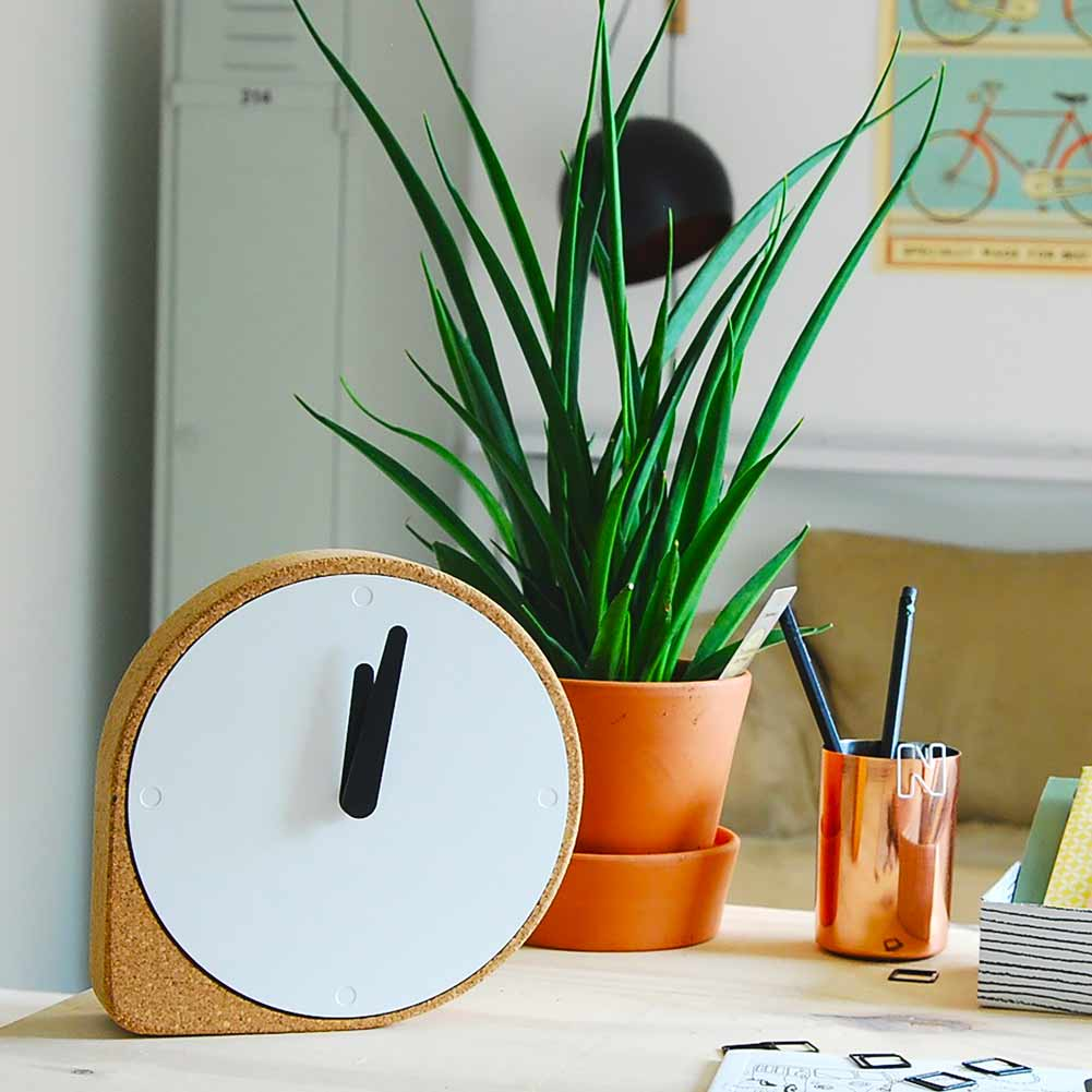 Clork by PUIKart, minimalist table or shelf clock in natural cork | The Design Gift Shop