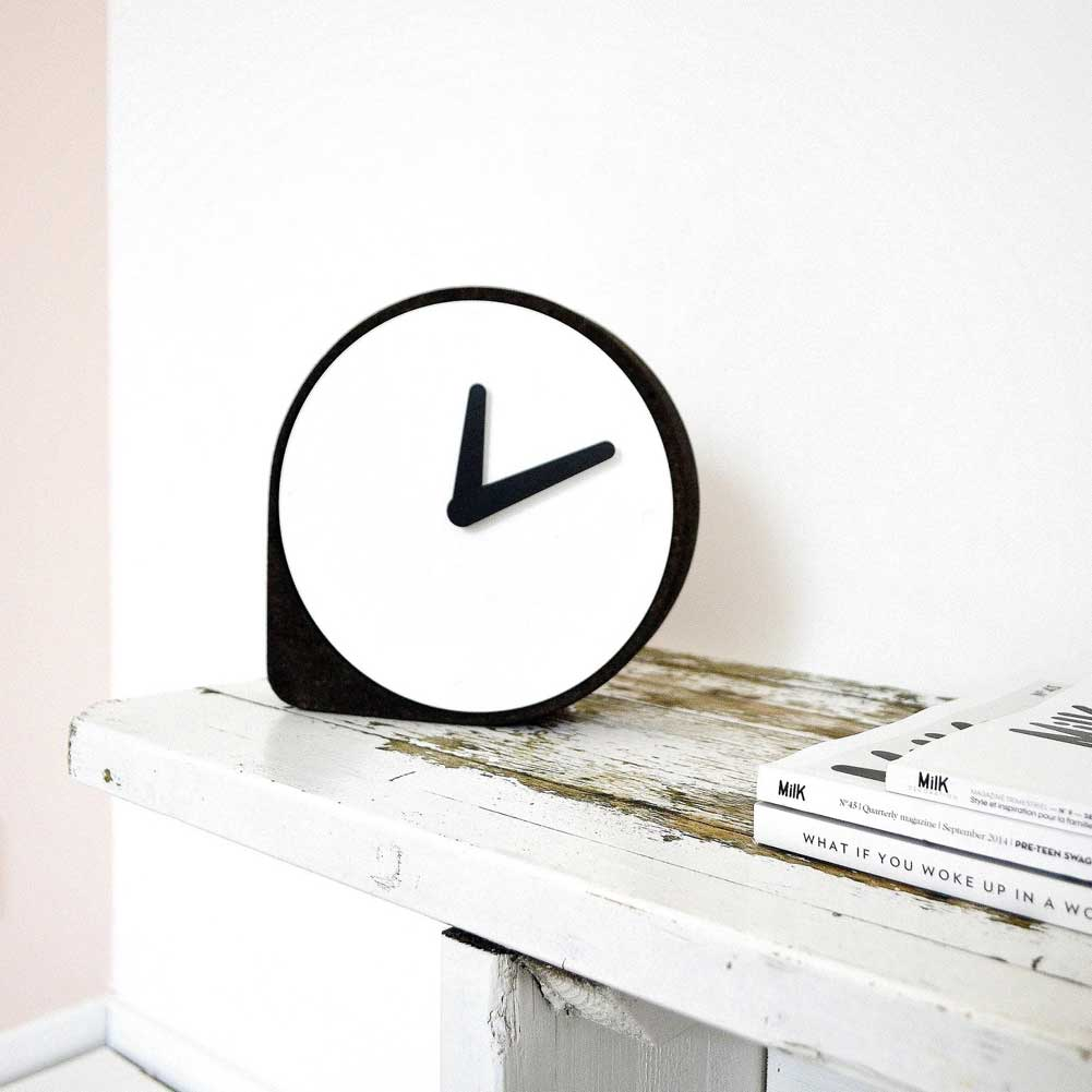 Clork by PUIKart, minimalist desk or mantel clock in black cork | The Design Gift Shop