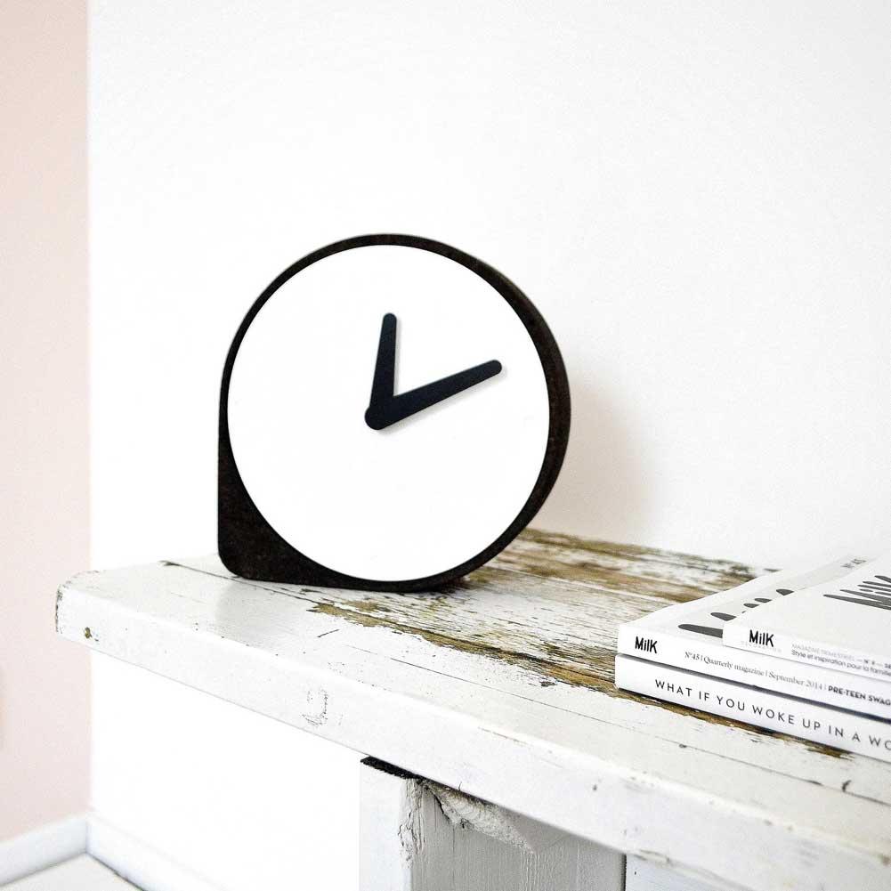 Clork by PUIKart, minimalist desk or mantel clock in black cork | The Design Gift Shop