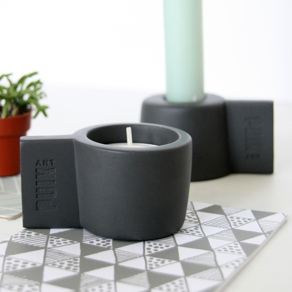Dark Grey Silicon Candle Holder Set SILLY by PUIKart | The Design Gift Shop