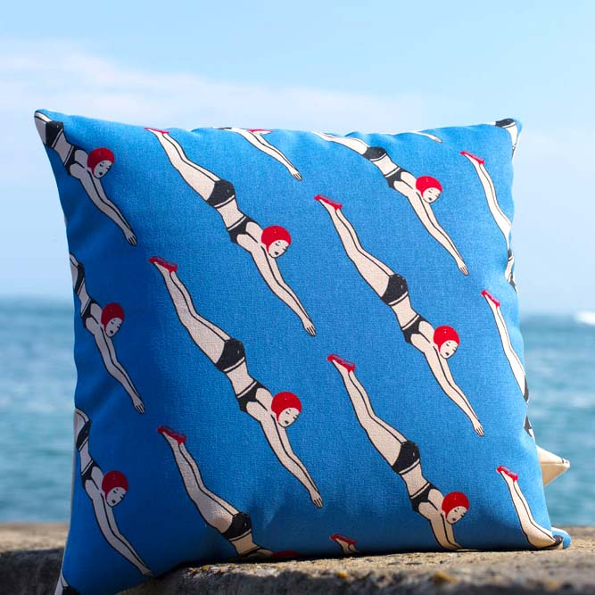 Cushion Cover 'Swimmers' by Jean-Vier | The Design Gift Shop