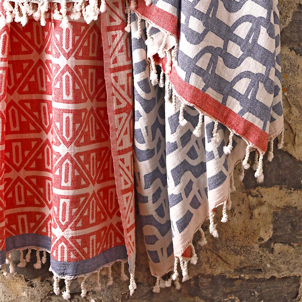 Fouta Towels 'Uhaina Chillida Bleu' and 'Basque Rouge' by Jean-Vier | The Design Gift Shop