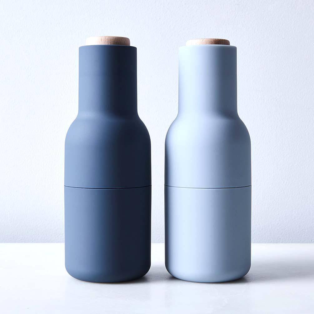 Menu Norm salt & pepper bottle grinder set in blue | The Design Gift Shop
