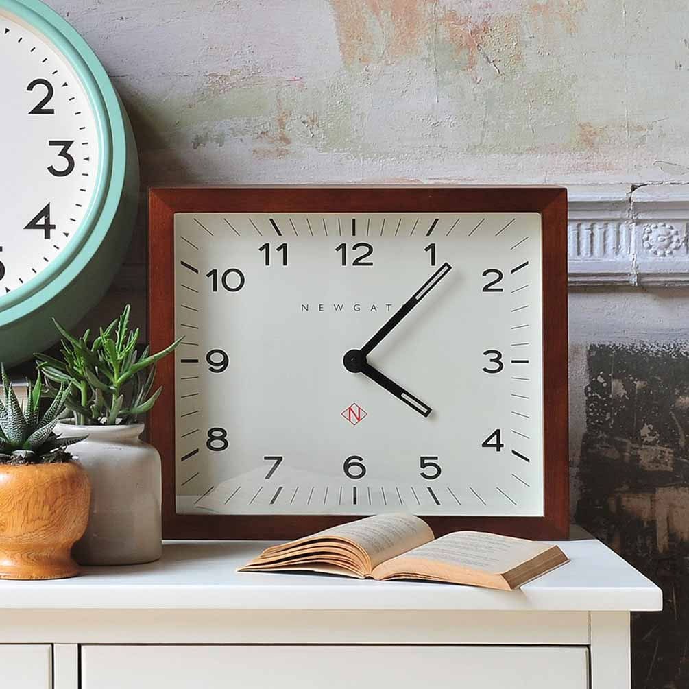 Newgate Mr Davies modernist rectangular wall clock with wood frame