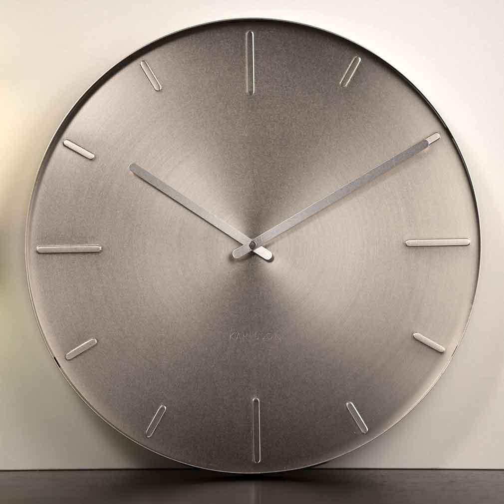 Karlsson Belt Wall Clock Nickel - Ø 40cm x 3.5cm