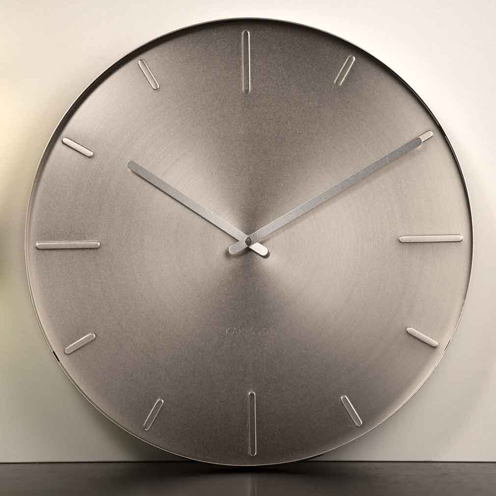 Karlsson Belt Wall Clock Nickel - Ø 40cm x 3.5cm