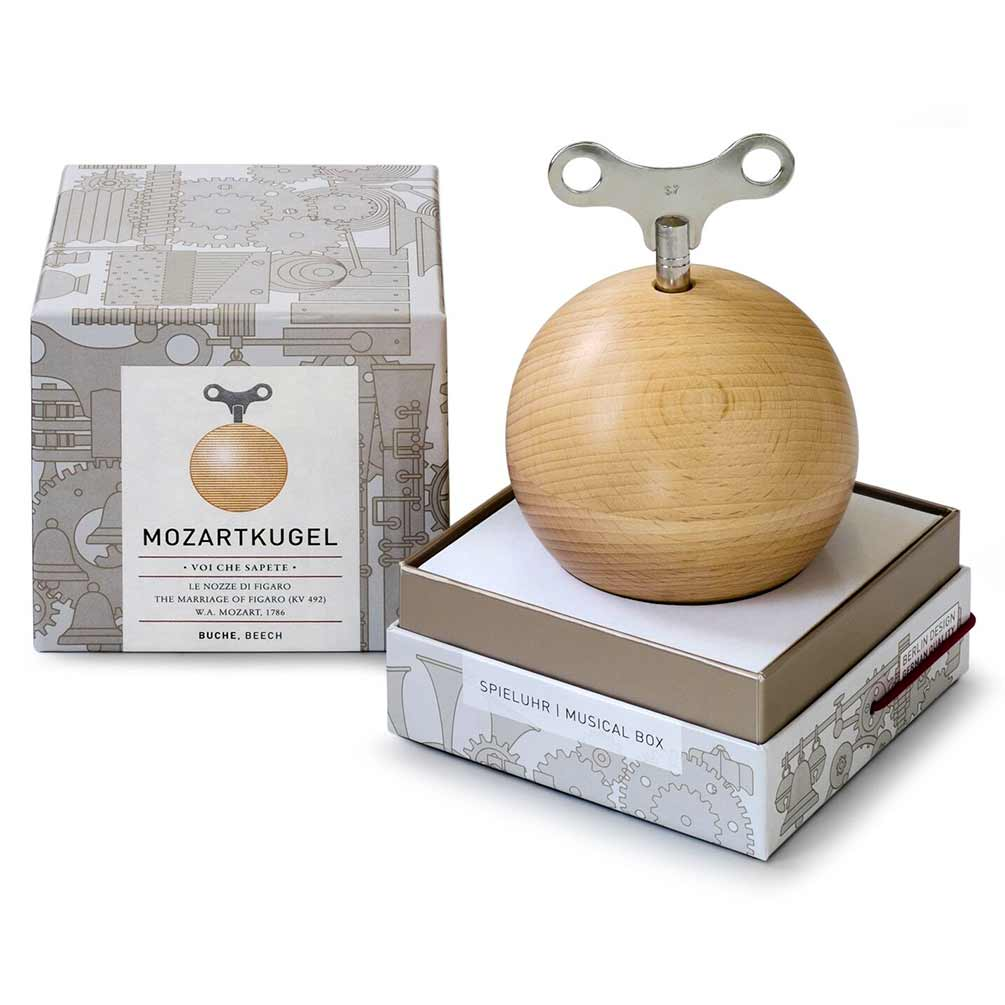 Mozartkugel Musical Orb by Siebensachen, crafted from Beech Wood | The Design Gift Shop