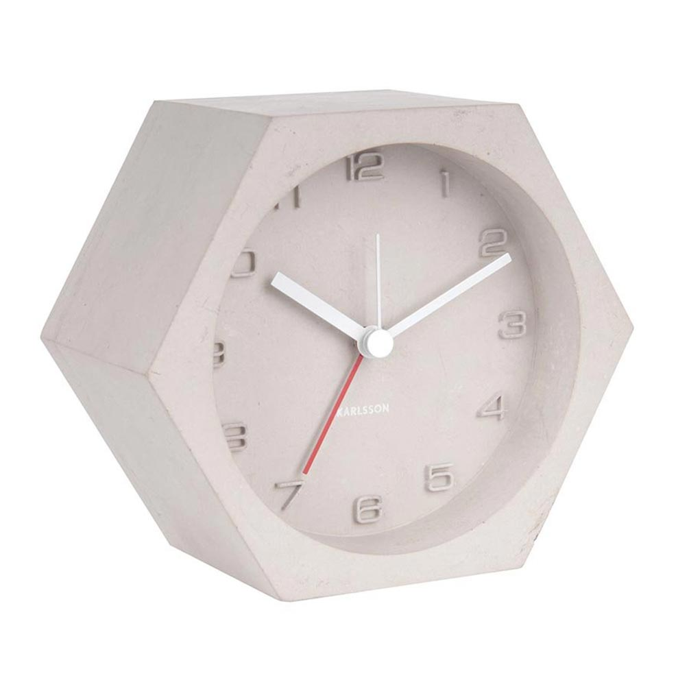 Karlsson Hexagon light grey concrete alarm clock | The Design Gift Shop