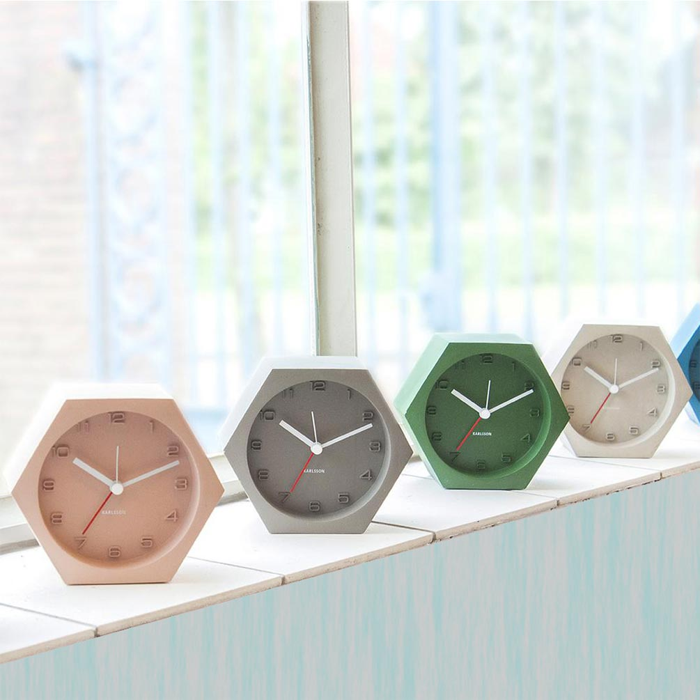 Karlsson Hexagon concrete alarm clocks   The Design Gift Shop