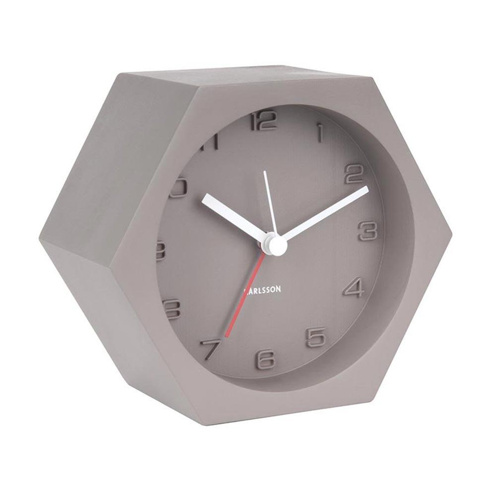 Karlsson Hexagon dark grey concrete alarm clock   The Design Gift Shop