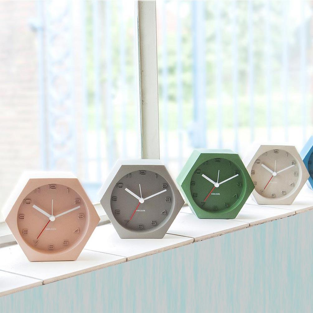 Karlsson Hexagon pink coloured concrete alarm clock | The Design Gift Shop
