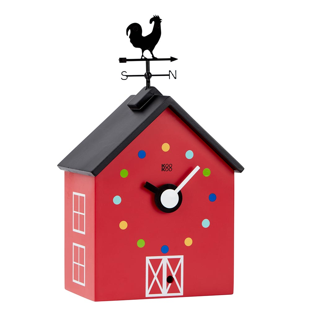 KooKoo RedBarn wall clock and mantel clock with farm animal voices | The Design Gift Shop