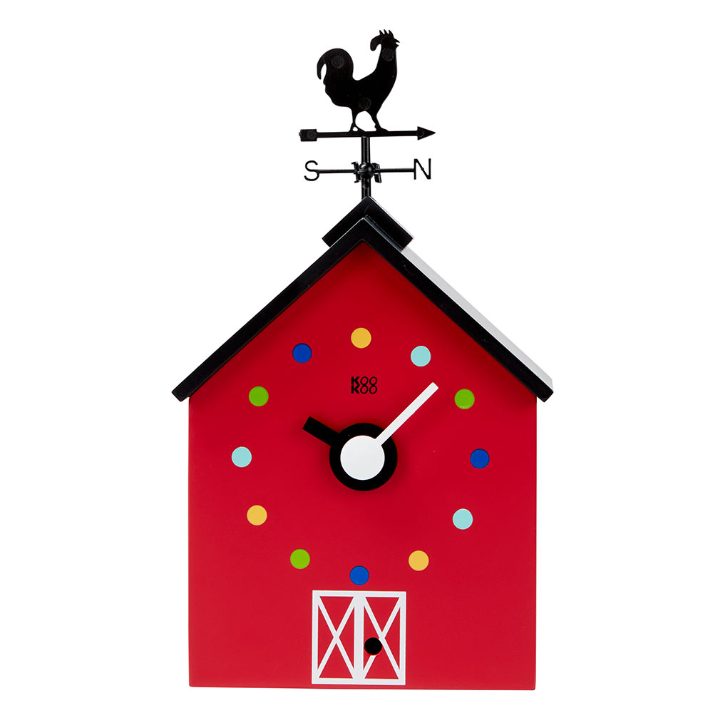 KooKoo RedBarn wall clock and mantel clock with farm animal voices   The Design Gift Shop