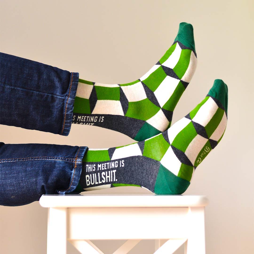 Blue Q Men's Socks 'This Meeting is Bullshit' | the design gift shop