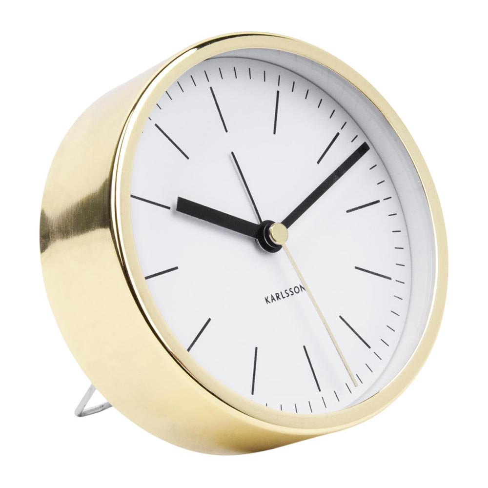 KARLSSON CLOCKS Minimal alarm clock with gold case and white dial