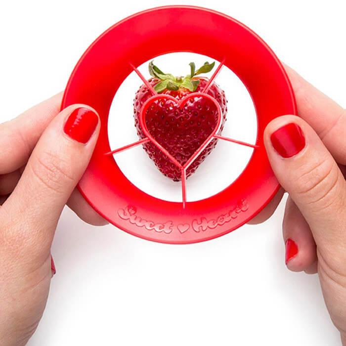 Strawberry Cutter Sweet Heart by Peleg Design   The Design Gift Shop