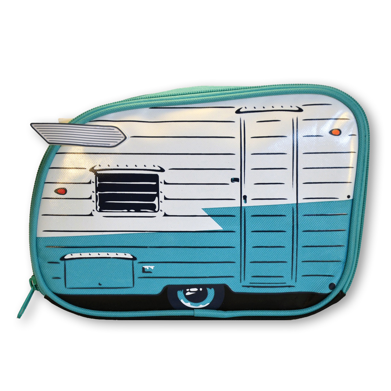 Mint/white teardrop caravan toiletry bag | The Design Gift Shop