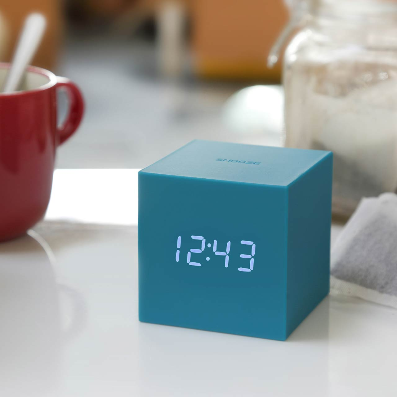 GINKGO gravity cube click clock teal | The Design Gift Shop