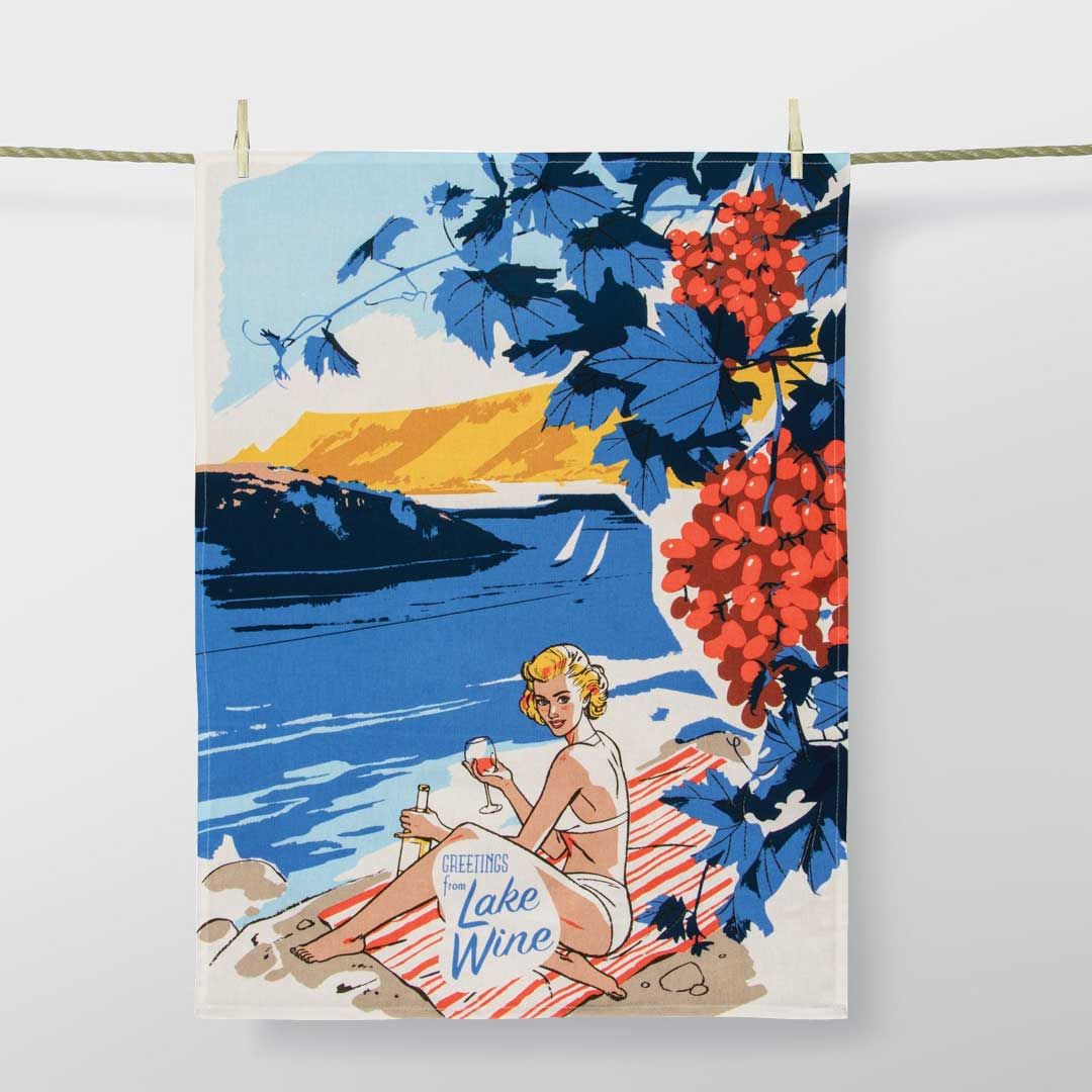 'Greetings from Lake Wine' Dish Towel by Blue Q  | The Design Gift Shop