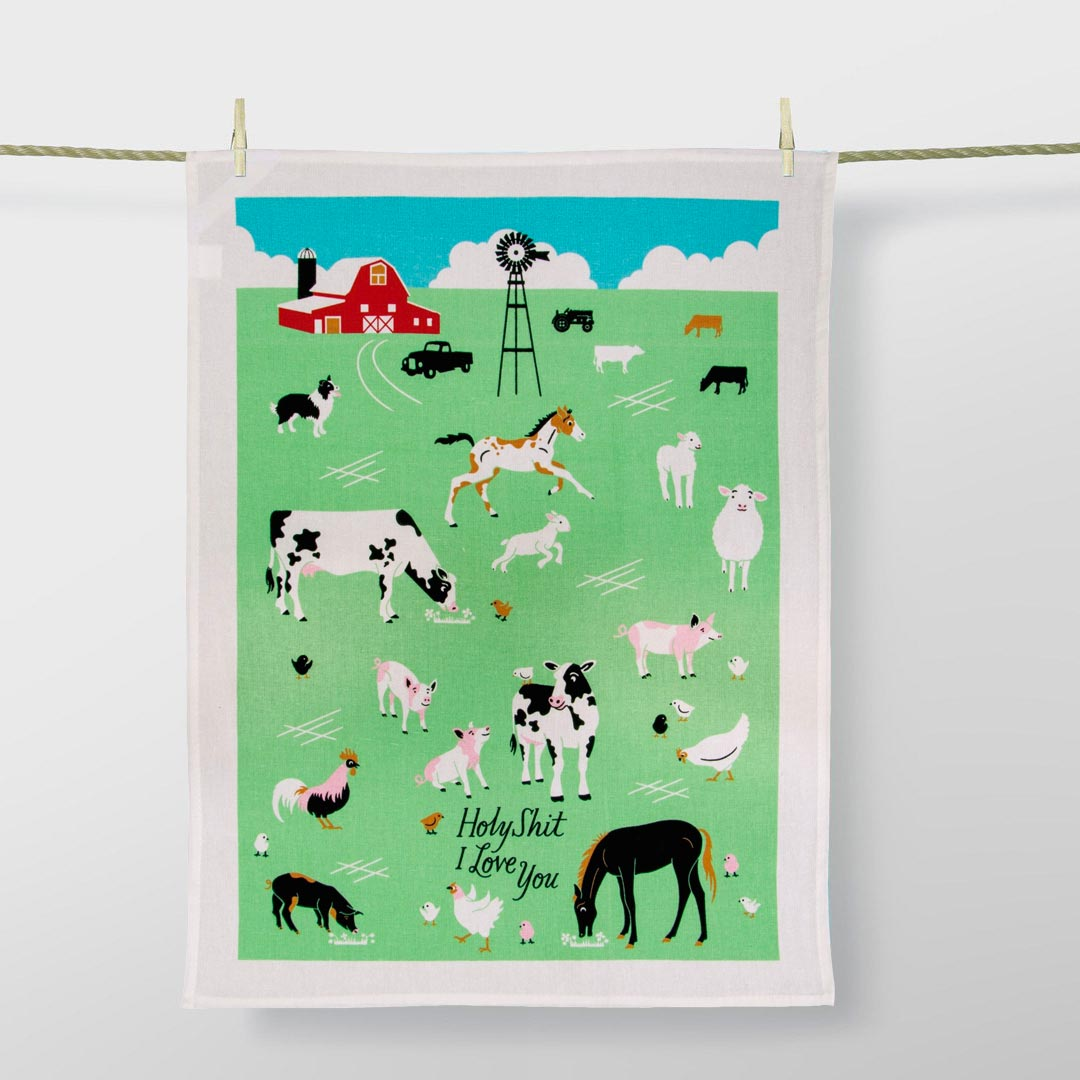 'Holy Shit I Love You' Dish Towel by Blue Q    the design gift shop