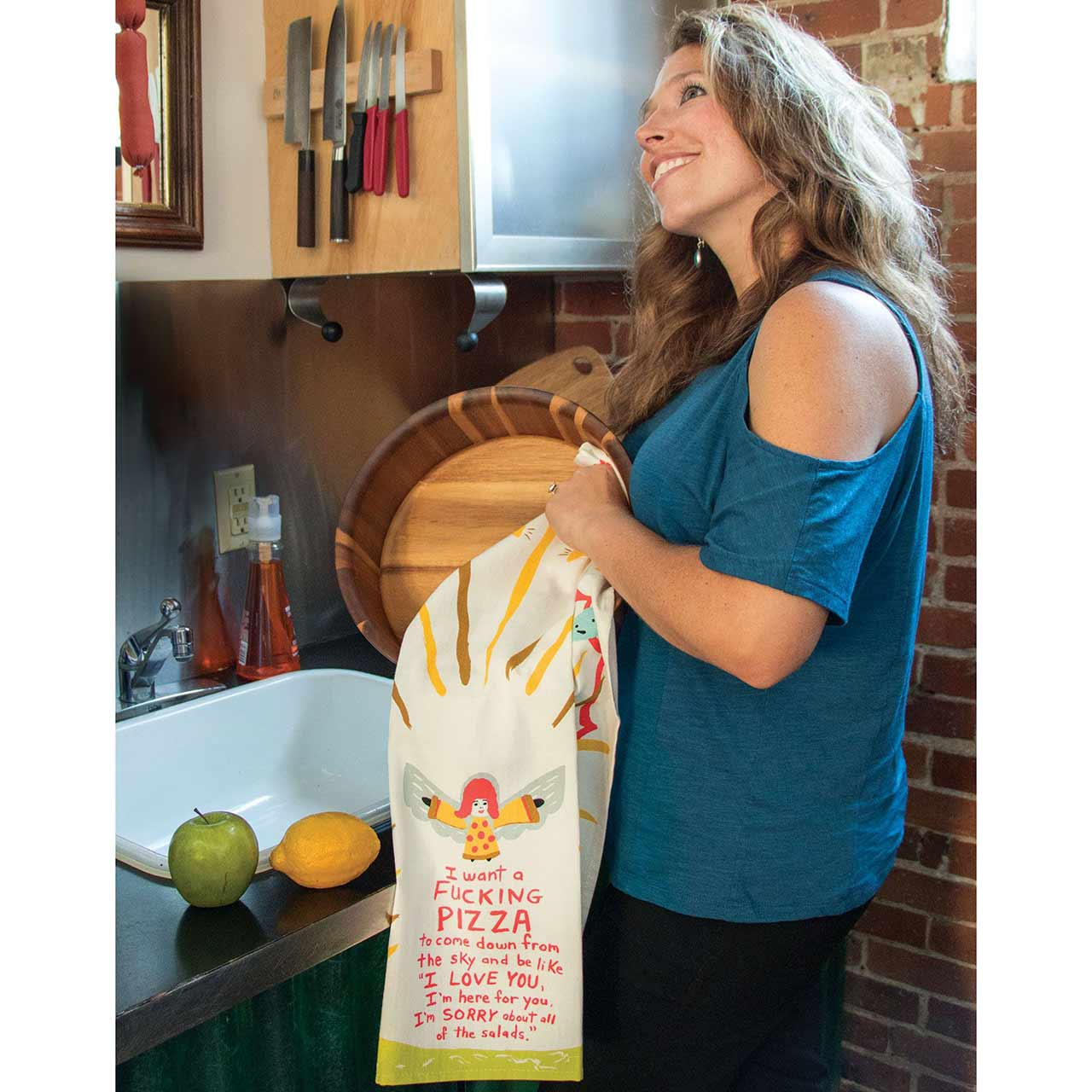 'I want a fucking pizza...' Dish Towel by Blue Q  | The Design Gift Shop
