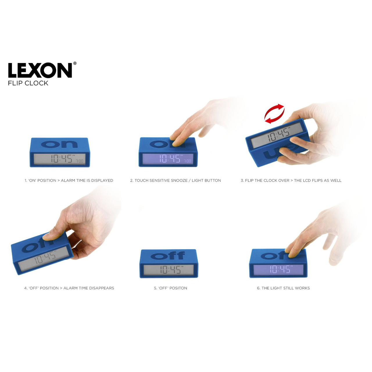 LEXON FLIP alarm clock (visual function description only)