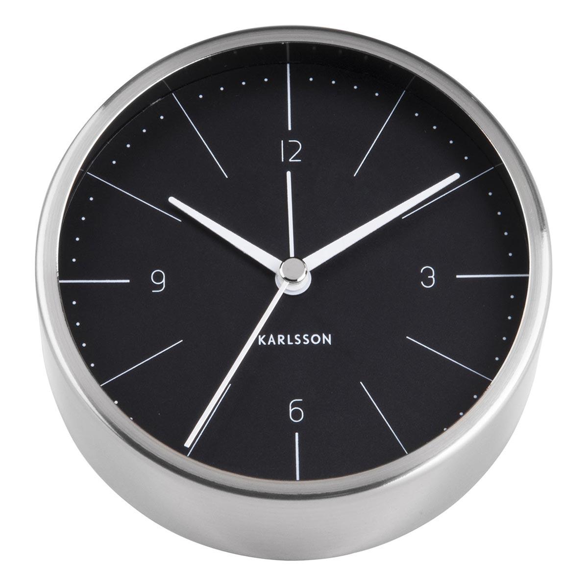 KARLSSON Normann alarm clock steel case black dial | the design gift shop